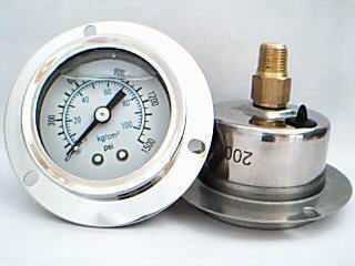 40M轴向带边充油耐振压力表