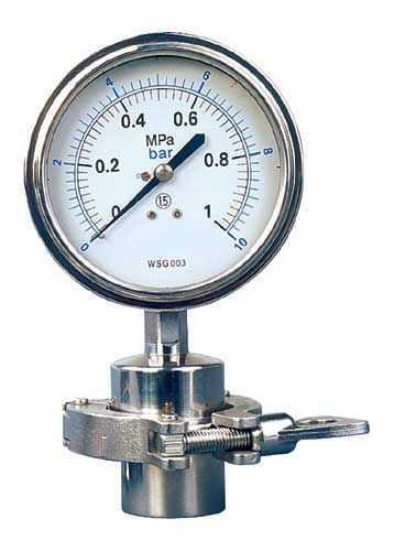 100MM全不锈钢卫生型隔膜压力表