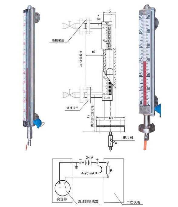側裝式磁翻板液位計特征
